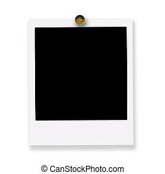 pinned polaroid film on white background