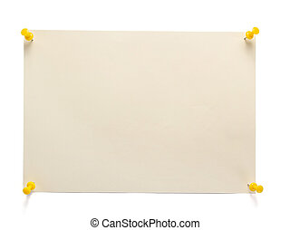 pinned sheet of paper isolated at white