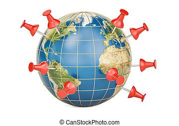 Pinned world, push pins on globe, 3D rendering