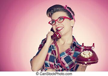 pino, telefone, falando, retro, menina, feliz