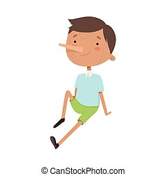 Pinocchio Character with Wooden Body and Long Pointed Nose Vector Illustration. Fairy Tale Boy Made of Wood Concept