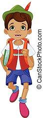 Illustration of Pinocchio going to school