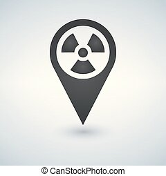 Pinpoint of nuclear zone icon in trendy flat style isolated on white background. Symbol for your web site design, logo, app, UI. Vector illustration.