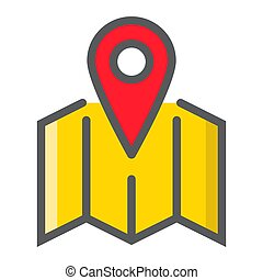 Pinpoint on map filled outline icon, geolocation and navigation, gps sign vector graphics, a colorful line pattern on a white background, eps 10.