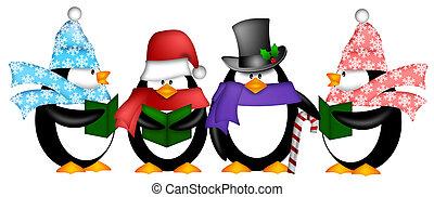 pinquins, het zingen, kerst carol, spotprent, clipart