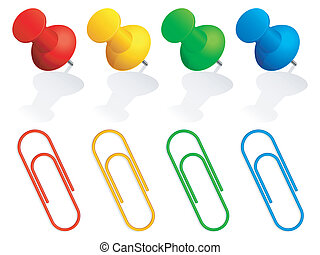 Pins and paper clips. - Collection of color pins and paper...