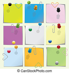 Pins - Multicolored note paper with push pins and clips...