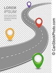 pins., wóz, szablon, droga, droga, curvy, nawigacja, roadmap, autostrada, szosa, mapa, infographic.