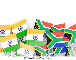 Pins with flags of India and south africa isolated on white.