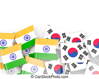 Pins with flags of India and south korea isolated on white.