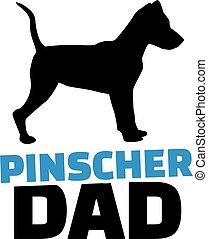 Pinscher dad with dog silhouette