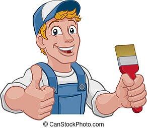 pinsel, heimwerker, lackierer, karikatur, dekorateurin, mann