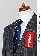 pinstripe, grijze , verkoop, kostuum, zijaanzicht