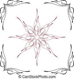 pinstripe, stykke, hjørne, centrum