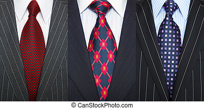 Pinstripe suits and ties - Triptych photo of a three...