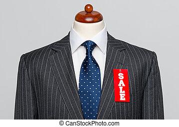 pinstripe, verkoop, grijze , kostuum, vooraanzicht