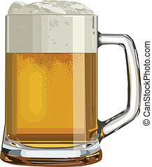pint - Isolated glass of beer. Vector illustration.