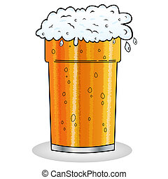 Pint of beer with froth hanging over edge of glass in cartoon style. Isolated on white.