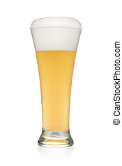 Pint of light wheat beer isolated on a white.