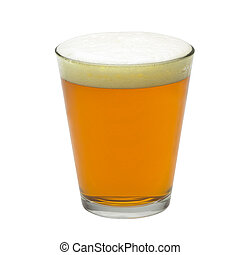 pint of red beer isolated on white background