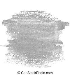 pintado, abstratos, cinzento, mão, aquarela, mancha, fundo, textured