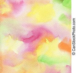 pintado, abstratos, mão, aquarela, experiência., textured, paper.