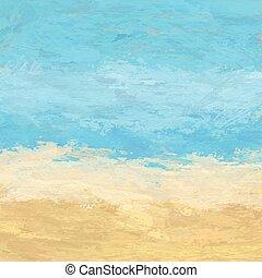 pintado, abstratos, praia, paisagem