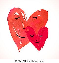 pintado, acuarela, corazones, dos, caras