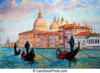 pintado, acuarela, venecia, pintura, italia