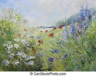 pintado, amapolas, en, un, verano, pradera