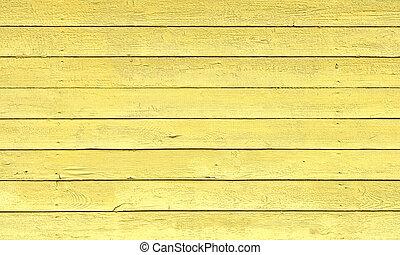 pintado, amarela, pranchas, textura madeira, fundo, ou