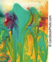 pintado, aquarela, abstratos, acrílico, fundo
