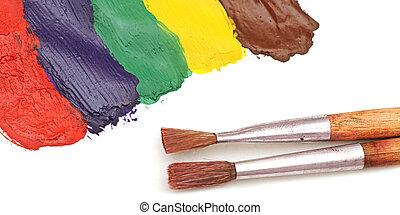pintado, aquarela, abstratos, escova, fundo
