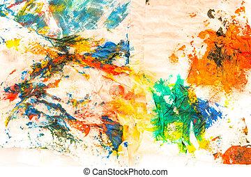 pintado, aquarela, abstratos, papel, fundo
