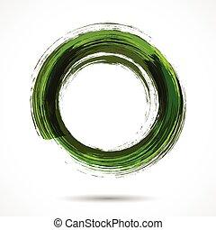 pintado, aquarela, verde, escova, fresco, anel