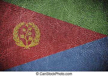 pintado, bandeira eritrea, couro, textura