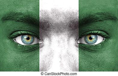 pintado, bandeira, nigéria, rosto humano