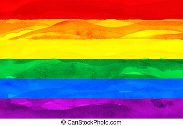 pintado, bandeira, (pride), homossexual