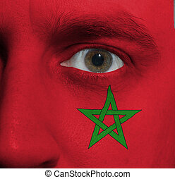 pintado, bandera, él, marroquí, cara