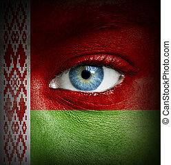 pintado, bandera, belarus, cara humana