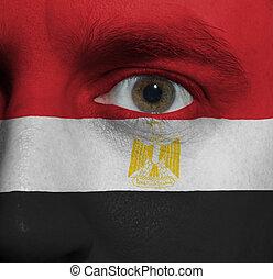 pintado, bandera, cara, él, egipcio