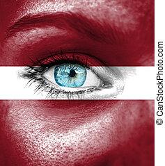 pintado, bandera, mujer, letonia, cara