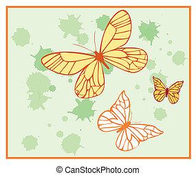 pintado, borboletas, 2