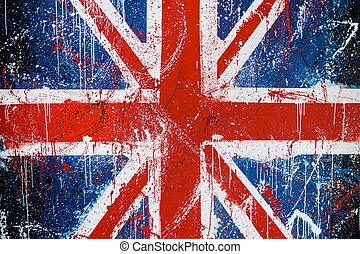 pintado, británico, concreto, bandera, grafiti, pared