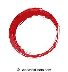 pintado, círculo, rojo