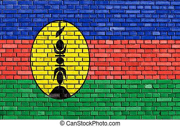 pintado, caledonia, pared, nuevo, ladrillo, bandera