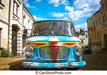 pintado, car, rua, antigas