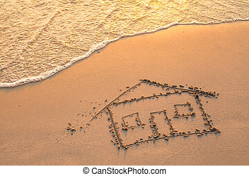 pintado, casa, praia, sand.