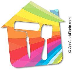 pintado, casas, símbolo, vector