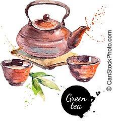 pintado, chá, ilustração, mão, aquarela, vetorial, desenhado